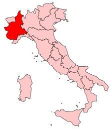 Position du Piedmont sur la carte d'Italie